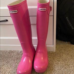 Hunter rain boots pink
